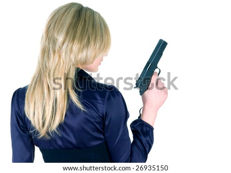 Young girl with gun isolated on white - stock photo