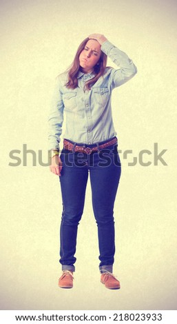 young girl with headache - stock photo