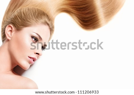 Young girl with healthy hair - stock photo