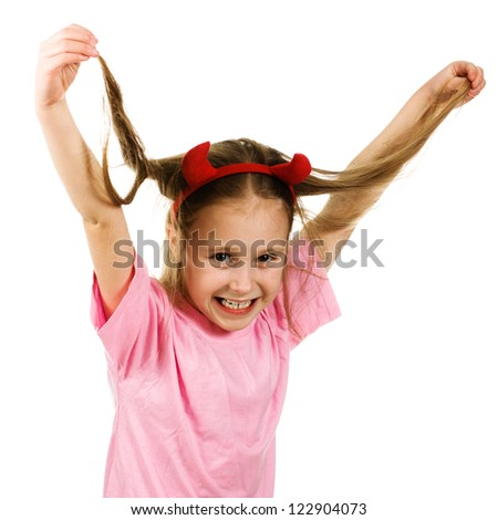 Young girl with horns imp on a white background. - stock photo