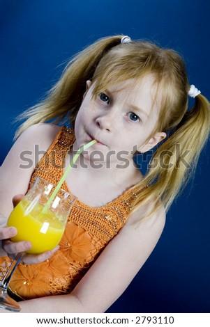 Young girl with lemonade - stock photo
