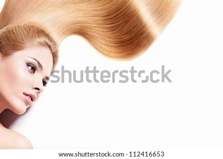 Young girl with long hair isolated - stock photo