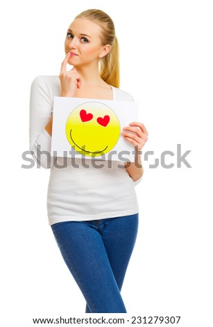Young girl with love card sign isolated - stock photo