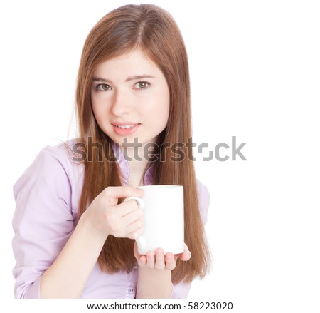 Young girl with mug with coffee. Isolated on white background - stock photo
