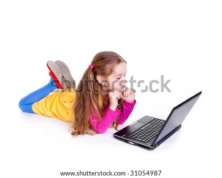 Young girl with notebook on white backgroun - stock photo