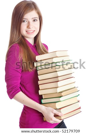 Young girl with pile of books in hands. Isolated on white background - stock photo