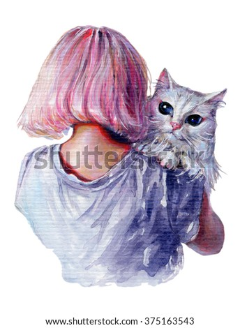 Young girl with pink hair in t-shirt holding her white persian cat. Traditional acrylic sketch. Unique surreal watercolor style  - stock photo