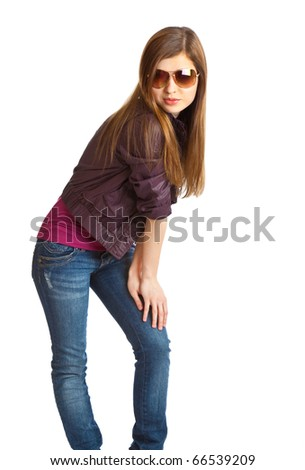 Young girl with sunglasses. Isolated on white background - stock photo