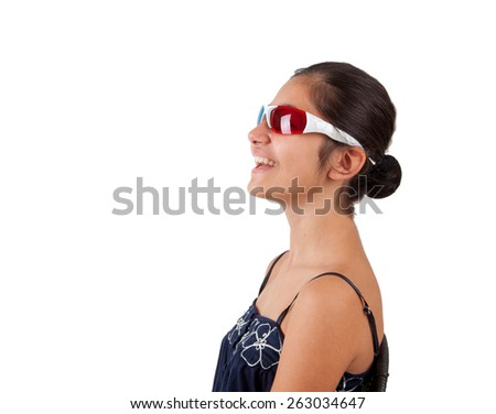 Young girl with three-dimensional eyeglasses on white background - stock photo