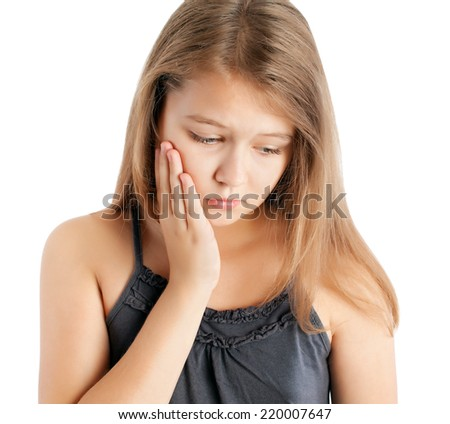 young girl with toothache - stock photo