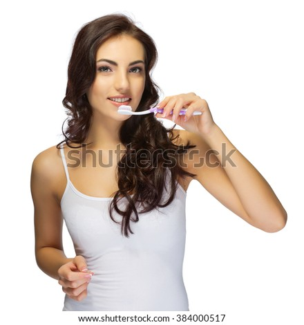 Young girl with toothbrush isolated - stock photo