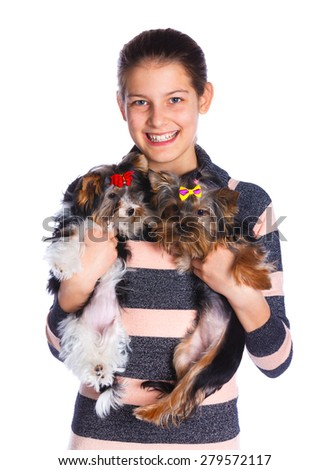 Young girl with two cute puppy Yorkshire terrier  - best friends - stock photo