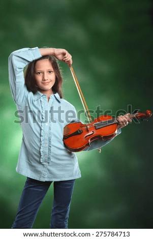 young girl with violin . studio photo. art - stock photo