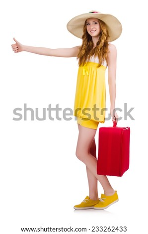 Young girl wth travel case thumbs up isolated on white - stock photo