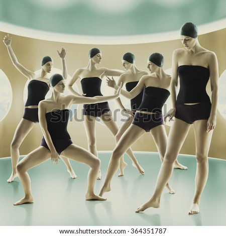 Young girls doing gymnastics in the sport gym. Futuristic style picture. Digital manipulations/Crazy Sport - stock photo