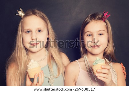 Young girls, holiday portrait - stock photo