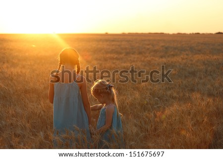 young girls joys on the wheat field  at the sunset time  - stock photo