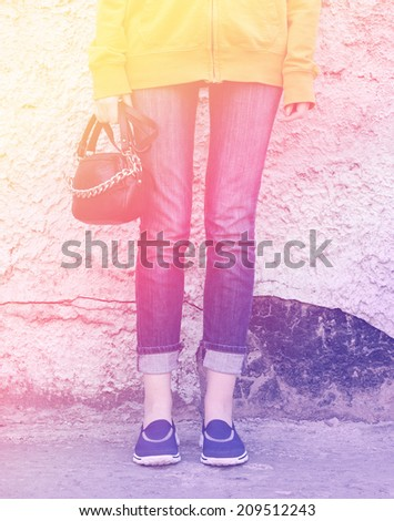 young girls legs free style vintage photo retro style - stock photo