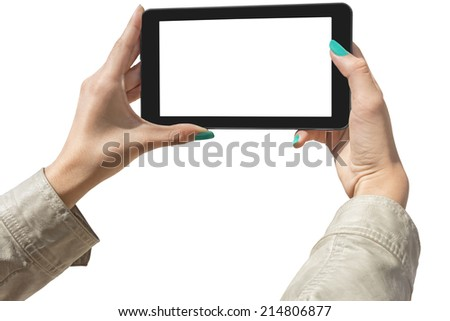 Young Girls Photographing with tablet, Isolated with Clipping Path on white background - stock photo