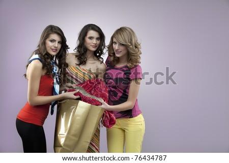 young girls shopping gorgeus - stock photo