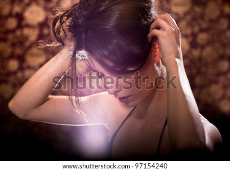 Young glamour woman portrait. Soft sunny colors. - stock photo