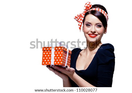 young gorgeous brunette with gift box, isolated on white - stock photo