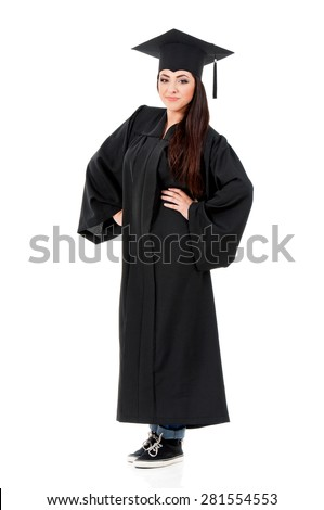 Young graduate girl student in mantle, isolated on white background - stock photo