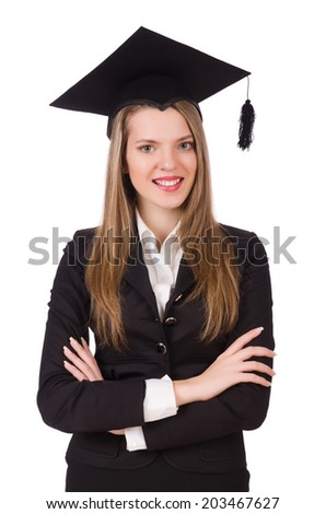 Young graduate isolated on white - stock photo