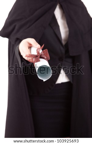 Young graduated woman in university costume - stock photo