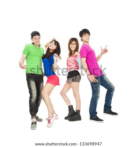 young group of casual, smiling and dancing - stock photo