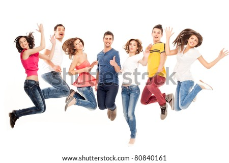 young group of casual, smiling people jumping - stock photo