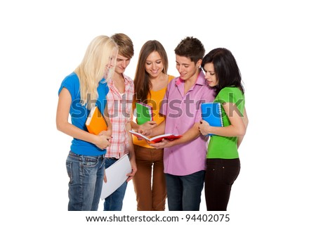 young group of people communicating discussing, students standing holding notebooks looking point finger, friends isolated on white background - stock photo