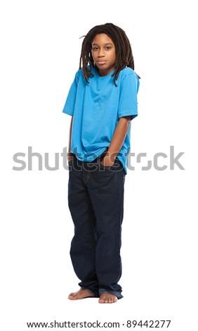 young guy standing in studio - stock photo