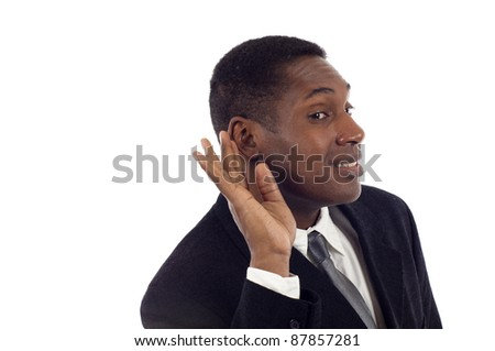 Young handsome African American listening something,eavesdropping, can't hear you concept - isolated on white background - stock photo