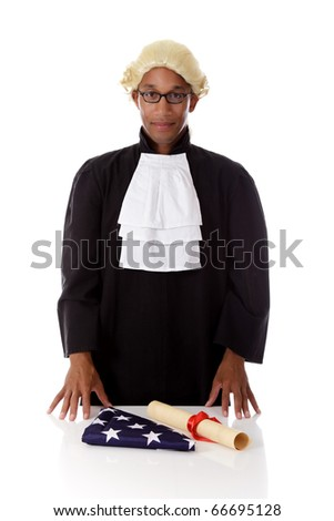 Young handsome African. American proud judge man with  packed flag and a diploma . Studio shot. White background. - stock photo