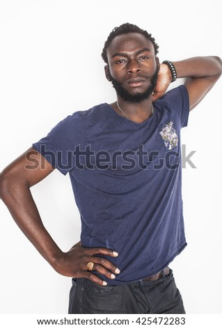 young handsome afro american boy in stylish hipster closers gesturing emotional isolated on white background smiling close up - stock photo
