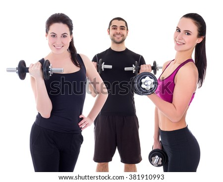 young handsome arabic man and two girls in sportswear doing exercises with dumbbells isolated on white background - stock photo