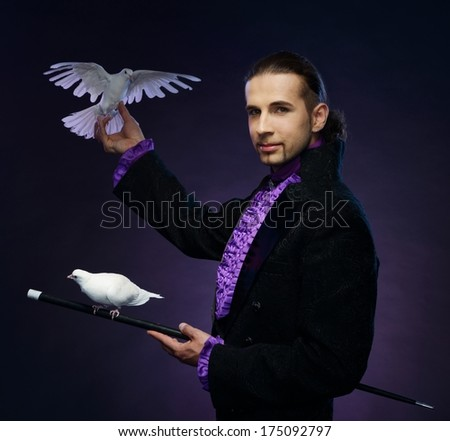 Young handsome brunette magician man in stage costume with his trained white doves - stock photo