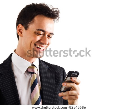 young handsome business man on phone - stock photo