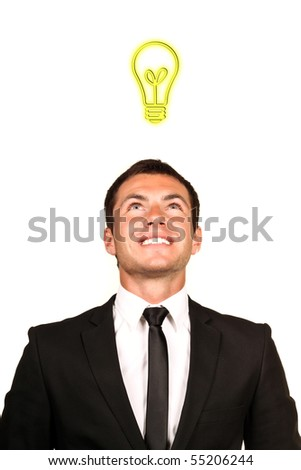 Young handsome business man with an idea - stock photo