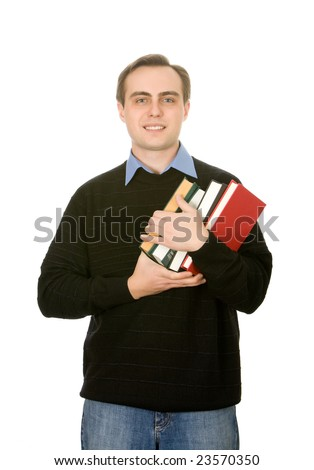 Young handsome guy holfing books. Isolated on white. - stock photo