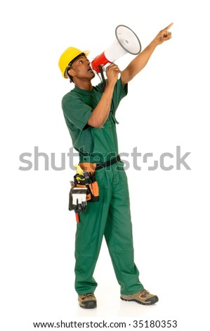 Young handsome happy black african american male construction worker with green overall and shirt. Studio shot, white background. - stock photo