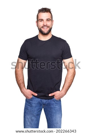 Young handsome man in a black t-shirt on white background - stock photo