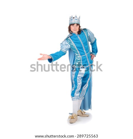 young handsome man in the costume of the prince - stock photo