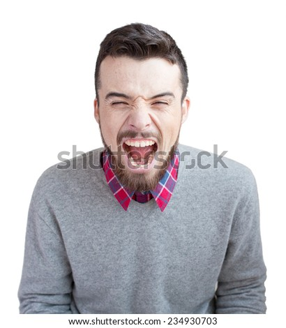 Young handsome man shouting with  beard and freckles isolated on white background - stock photo
