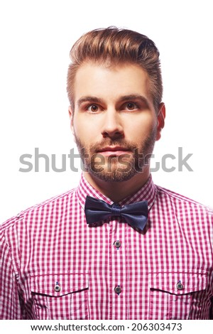 Young handsome really surprised shocked man isolated on white background - stock photo