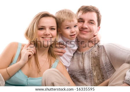 young happiness family isolated on a white background - stock photo