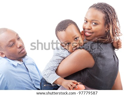 Young happy afro american family isolated over white background. - stock photo