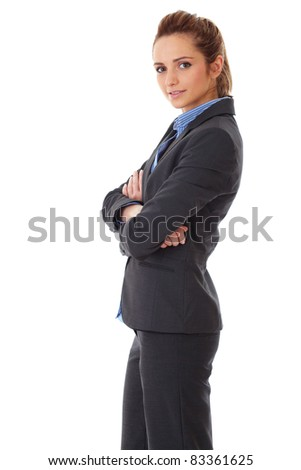 young happy attractive businesswoman with crossed arms, isolated on white - stock photo