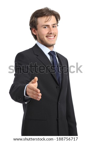 Young happy business man ready to handshake isolated on a white background        - stock photo